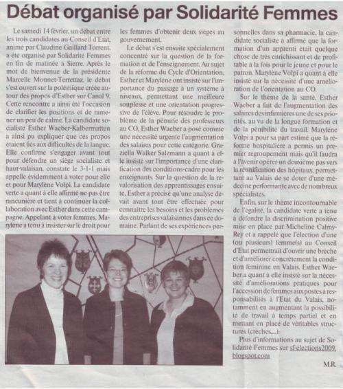 Un article sur la rencontre organisée par SF à Sierre le 14 février 2009.